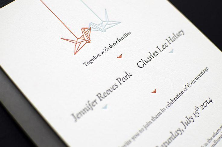 Cranes Letterpress Wedding Invitations designed by Ramona Todoca for Campbell Raw Press