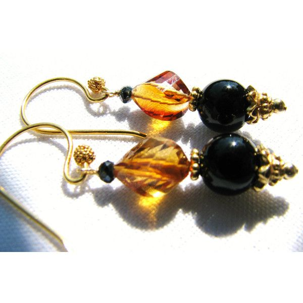 SALE, Luxury Madeira Citrine Earrings, Natural Stone Earrings, Black... ($36) ❤ liked on Polyvore featuring jewelry, earrings, black onyx jewelry, vermeil earrings, fancy jewellery, citrine jewelry and earring jewelry
