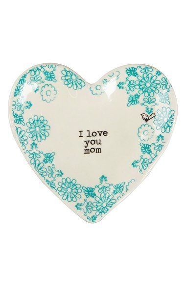 Mother's Day gift idea: A vintage-vibe heart-shaped trinket dish, cast in glossy ceramic and stamped with the message 'I love you Mom' makes a perfect place to store tiny treasures. Pretty turquoise/mint flowers, too!