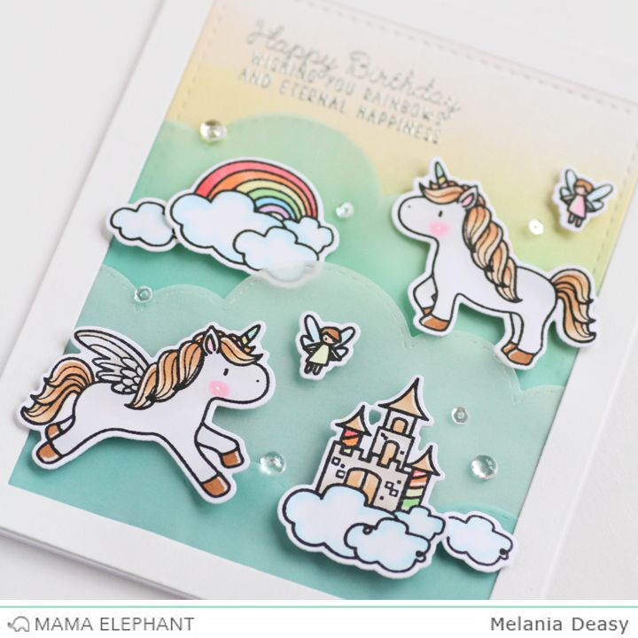 Mama Elephant Stamp Highlight Unicorns and Rainbows