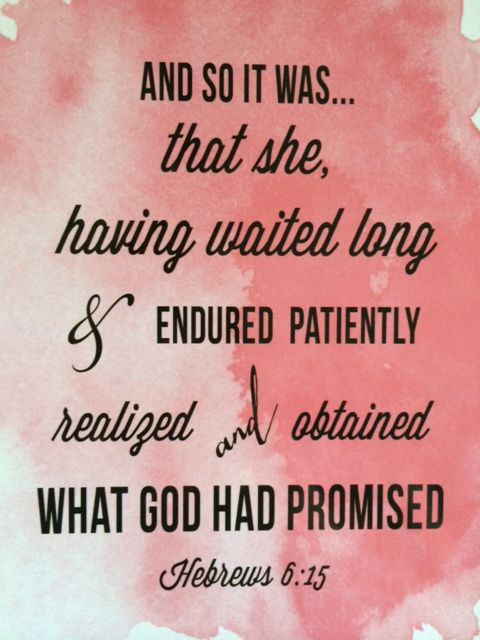 And so it was that she, having waited long & endured patiently realized and obtained what God had promised. Hebrews 16:5
