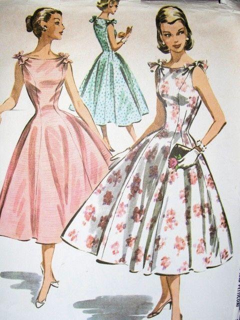 1950s Bateau Neckline Dress Pattern Petticoat Beautiful