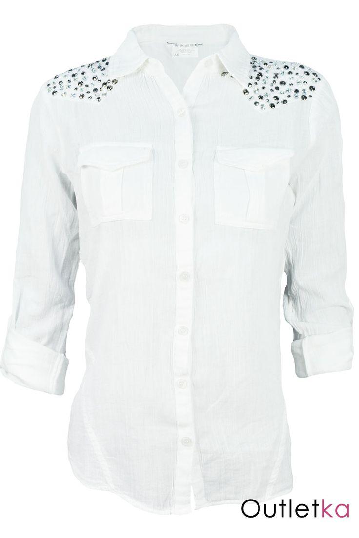 Nowa koszula firmy Dorothy Perkins. Koszula w kolorze białym. Zapinana na białe guziki. Z przodu posiada dwie kieszonki. Koszula taliowana. Ramiona ozdobione kamieniami. Rękaw o długości ¾, podwinięty, z pagonem i zapinany na guzik.