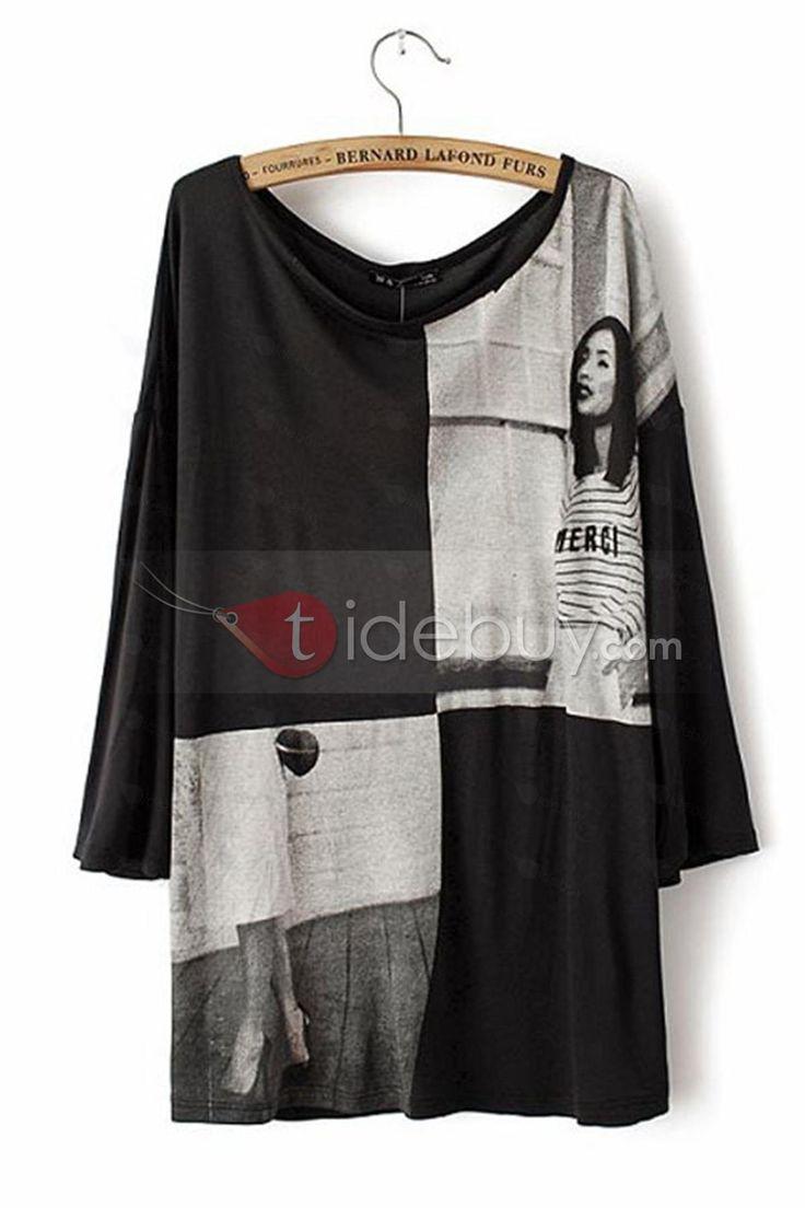 ピュアブラックコットンプリント七分袖ルーズシャツ
