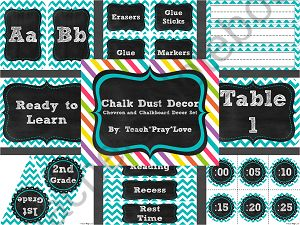 "This turquoise chevron and chalkboard decor set is perfect for the upper elementary school teacher who doesn't want a ""cutesy"" classroom theme!"