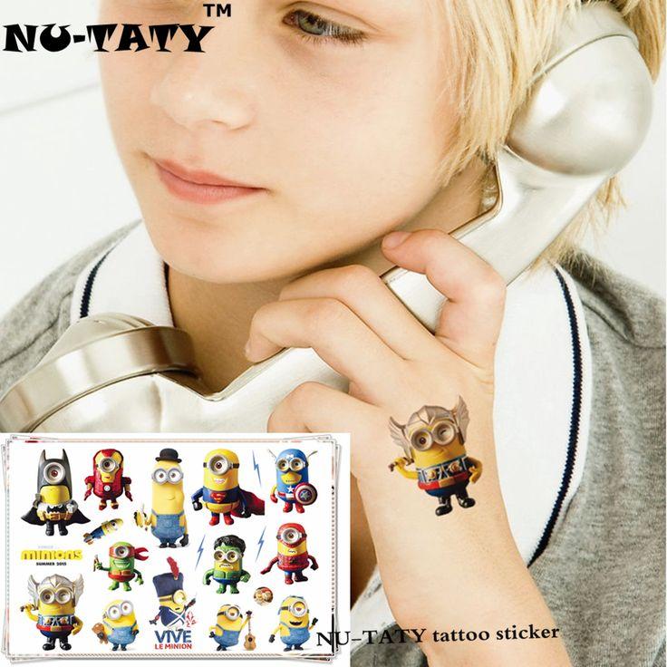 NU-TATY 하수인 어린이 만화 임시 문신 스티커 패션 여름 스타일 엘사 방수 여자 아이 소년 뜨거운 판매 문신