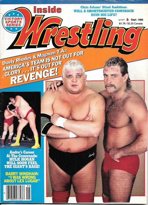 Pro Wrestling magazine Inside Wrestling September 1986. Dusty Rhodes, Magnum T.A. and Andre the Giant on the cover.
