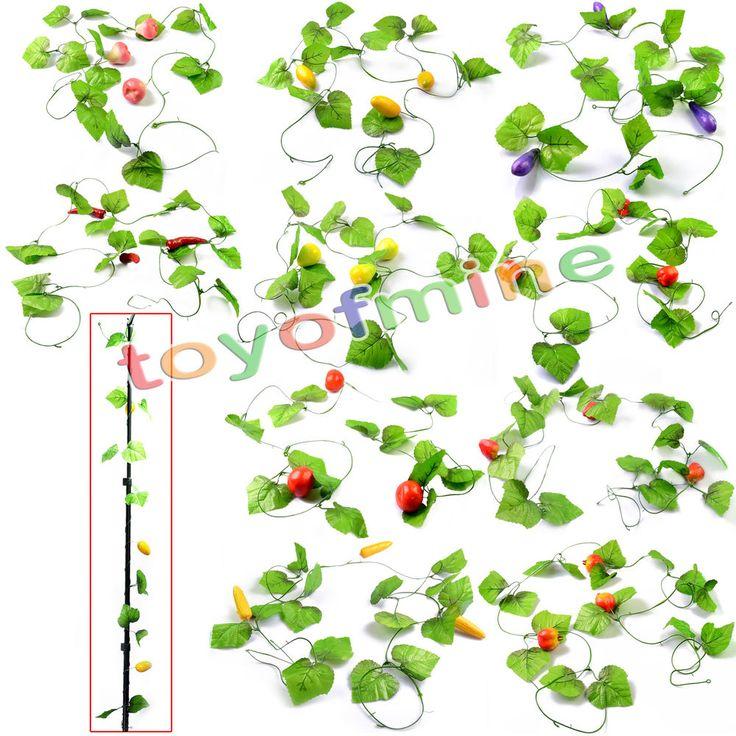 1pc Artificial Vegetable Fruit Ivy Vine Leaf Garland Plants Fake Foliage Flowers