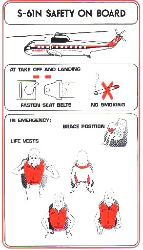 Ansett S 61 N Helicopter Safety Card
