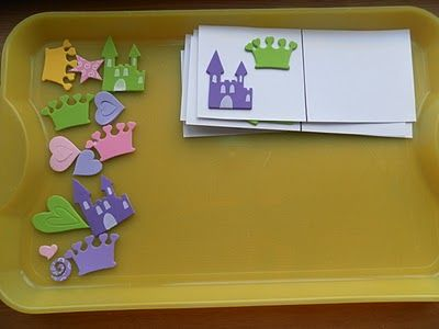 Copy Cards Tray activity, with foam stickers (for when kids 1st come in & settle down)