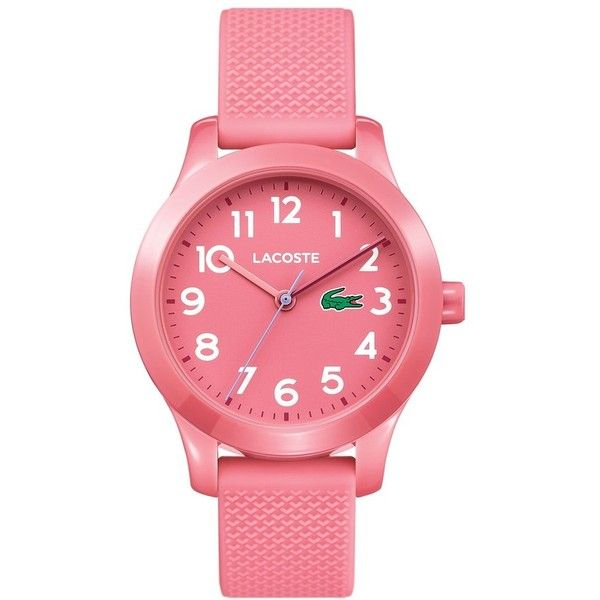 Women's Lacoste Kids 12.12 Silicone Strap Watch, 32Mm ($55) ❤ liked on Polyvore featuring jewelry, watches, pink, lacoste, pink jewelry, sporty watches, silicone strap watches and pink watches