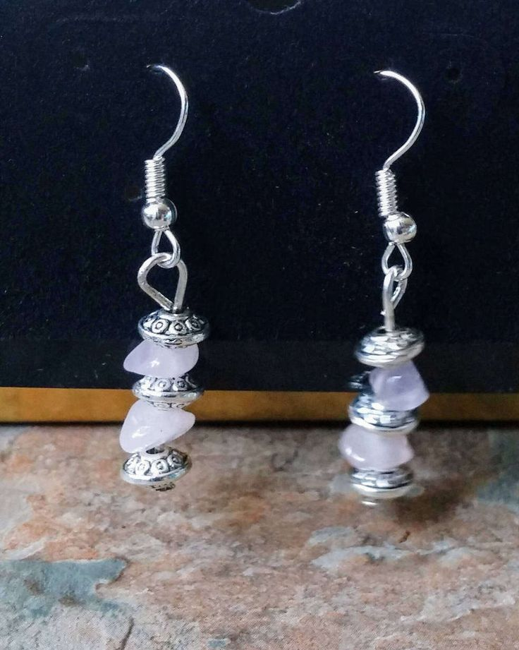 Rose quartz with 3 antique silver wheel detail and earring hook handmade earrings gift by SpryHandcrafted on Etsy