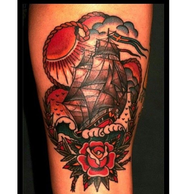 Sailor Jerry inspired old school traditional ship tattoo. On back thigh