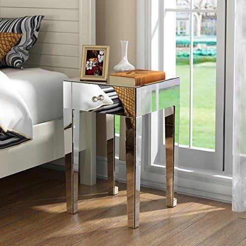 Anaelle Pandamoto Table de Chevet Miroir Meuble de Rangement en Verre avec 1 Tiroir EUR