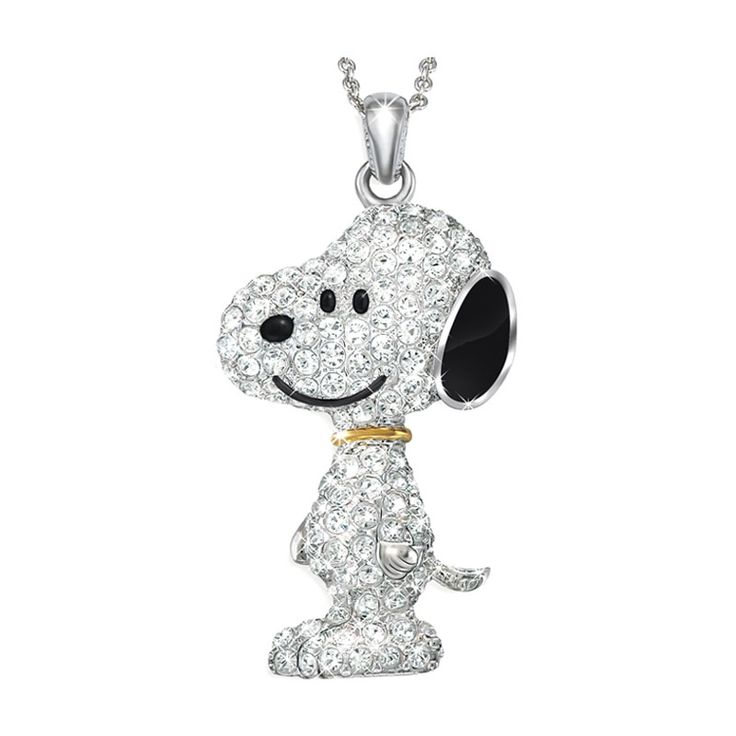Super cute pendant!!! - Peanuts Collectibles | The Snoopy Swarovski Crystal Pendant Necklace - The Danbury Mint