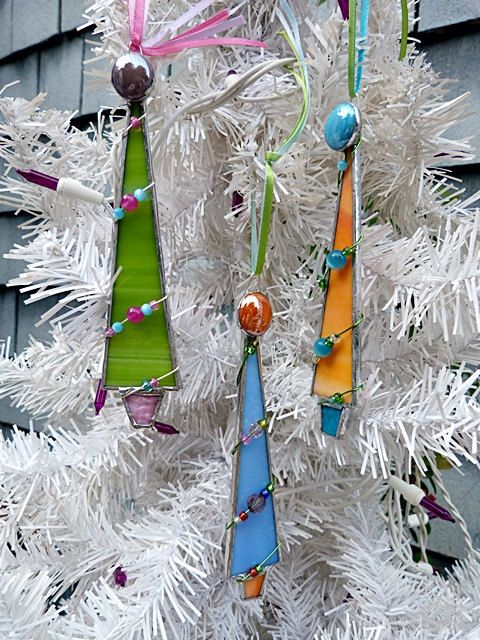 Stained Glass Christmas Tree Set of Three Choose Your by miloglass, $25.00