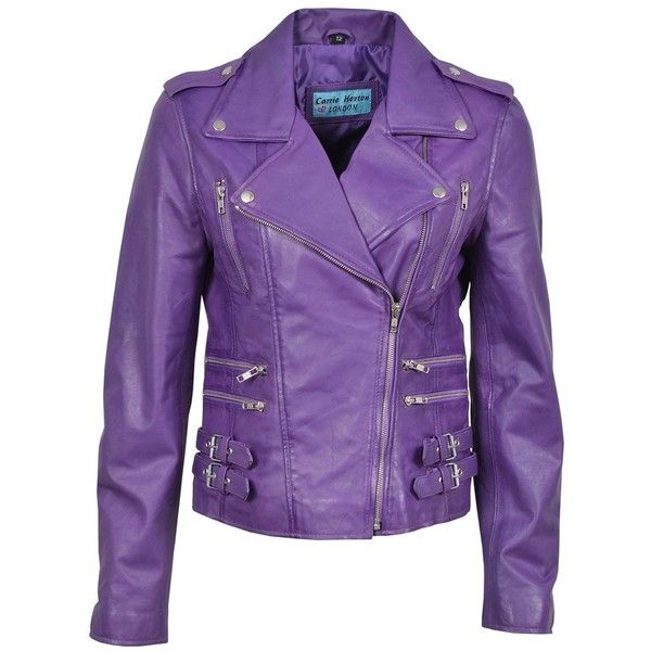 'MYSTIQUE' Ladies Purple Biker Style Motorcycle Designer Nappa Leather... ($176) ❤ liked on Polyvore featuring outerwear, jackets, biker jacket, motorcycle jacket, nappa leather jacket, purple jacket and napa leather jacket