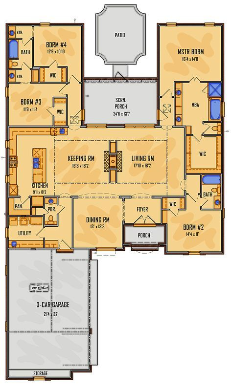 European Southern House Plan 41505 Level One