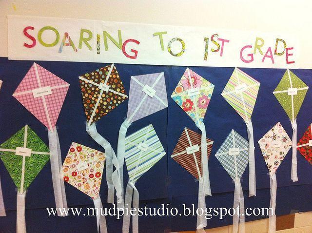 Spring or Summer Bulletin Board using scrapbook paper