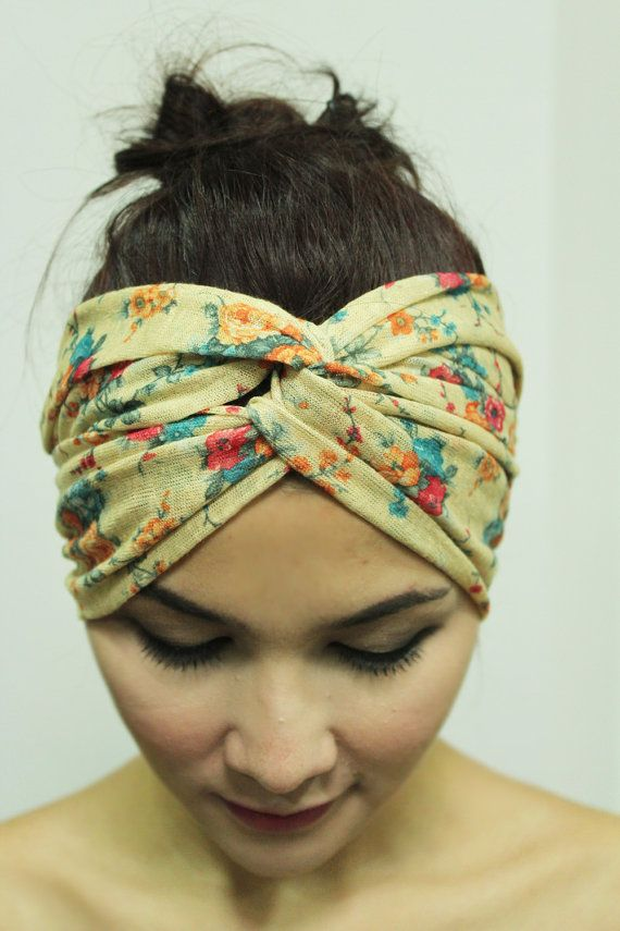 Hippie Headband Twist Turban , Yellow Hair accessory headpiece ,Spring Flower, Soft and Elastic on Etsy, $9.95