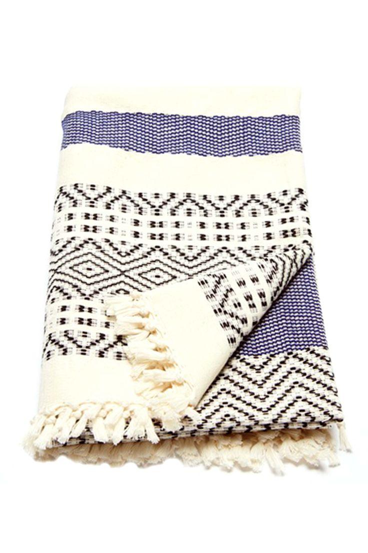 Indigo Ixchel Beach Blanket by Wax + Cruz. Handwoven from 100% cotton by master-artisans in Mexico.