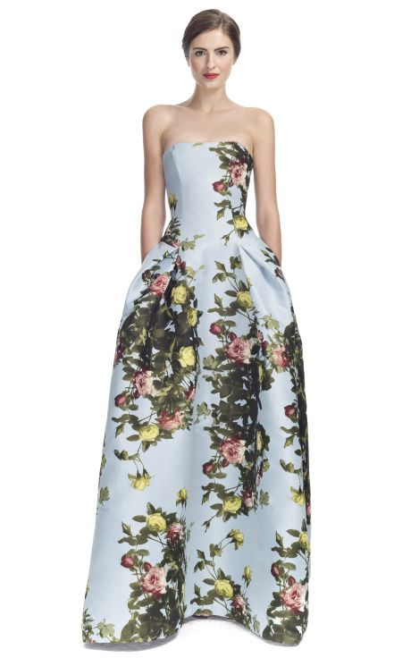 Carolina Herrera Rose Painting Jacquard Strapless Gown