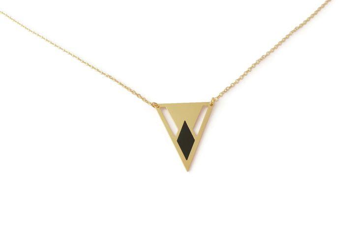 Collier Pythagore losange, laiton doré à l'or fin, émail : Collier par le-voyage-des-bulles