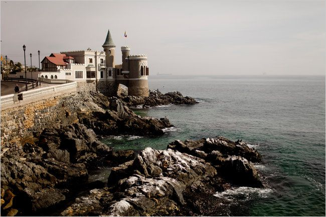 Castillo Wulff hangs over the sea resting on the seaside cliffs