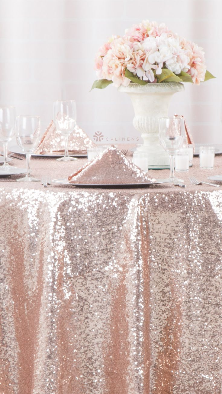 Glitz Sequins 108 Round Tablecloth Blush Rose Gold Rose Gold