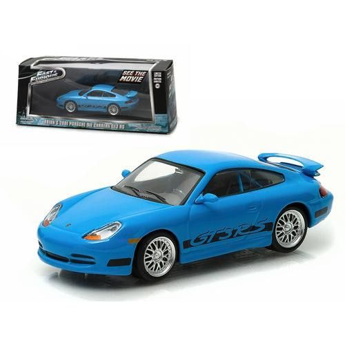 """Brian's 2001 Porsche 911 Carrera Gt3 RS Blue """"The Fast and The Furious Fast Five"""" Movie (2011) 1/43 Diecast Model Car by Greenlight"""