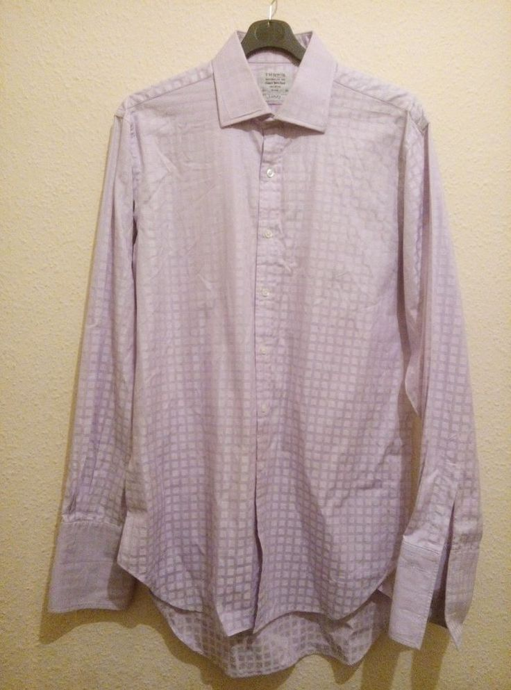 TM Lewin Finest Two Fold Cotton Luxury Check Shirt Lilac Double Cuff 16.5 36