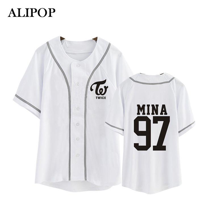 ALIPOP Kpop Korean Fashion TWICE Third Mini Album TWICEcoaster LANE1 Cotton Cardigan Tshirt K-POP Button T Shirts T-shirt PT344