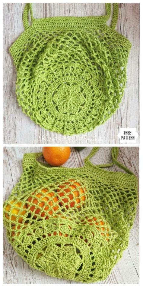 Crochet Sakura Market Bag modèle de crochet gratuit   – Maison !!! A faire en rentrant