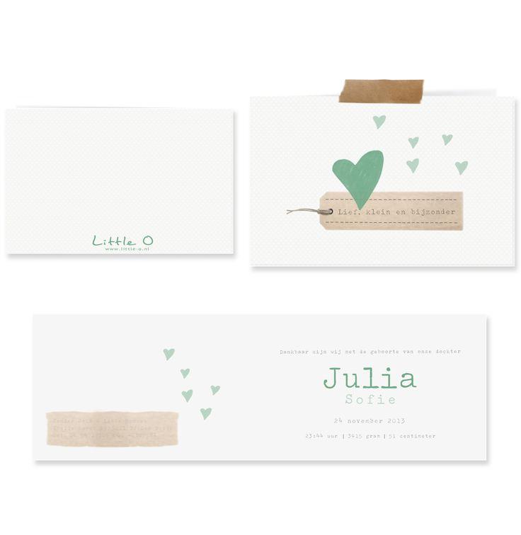 Geboortekaartje hartjes - Julia