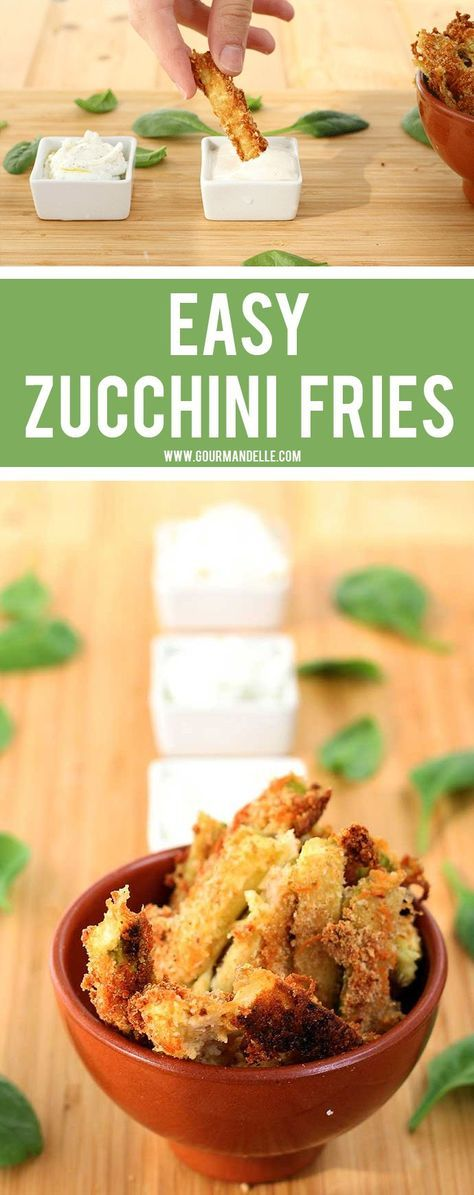 Make these delicious, crispy zucchini fries / zucchini sticks and enjoy a crunchy snack or side dish, that's also secretly healthy! They're vegan and gluten-free too! http://gourmandelle.com/zucchini-fries/