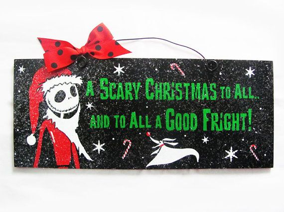Nightmare before Christmas sign. Jack Skellington Santa. Scary Christmas. via Etsy