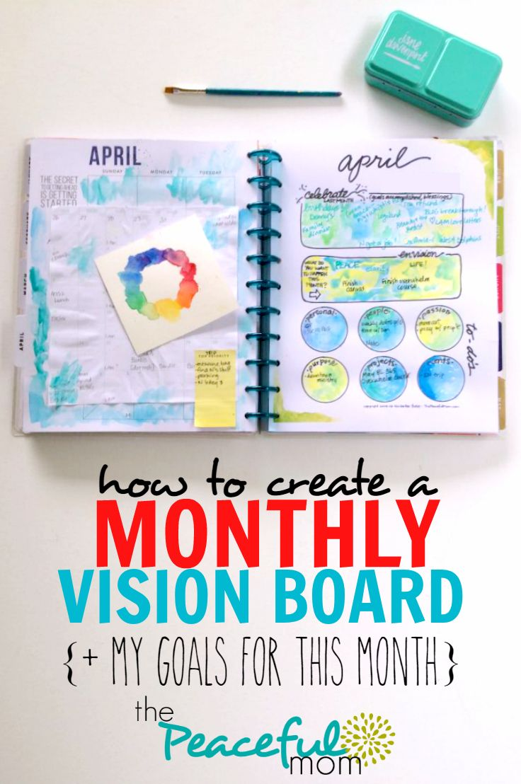 How to Create a Monthly Vision Board Are you tired of setting goals, only to realize a year later that you never accomplished them? I have a solution for you. Let me show you how to create a monthly vision board. One of my goals here at The Peaceful Mom is to help you live …