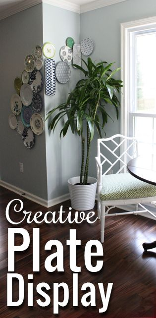 Creative plate wall collage: plates the wrap around the corner!