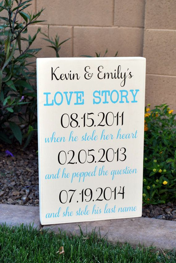 Love Story Wood Subway Sign 5 Year Anniversary Gift Wedding Personalized For Engagement Her Him