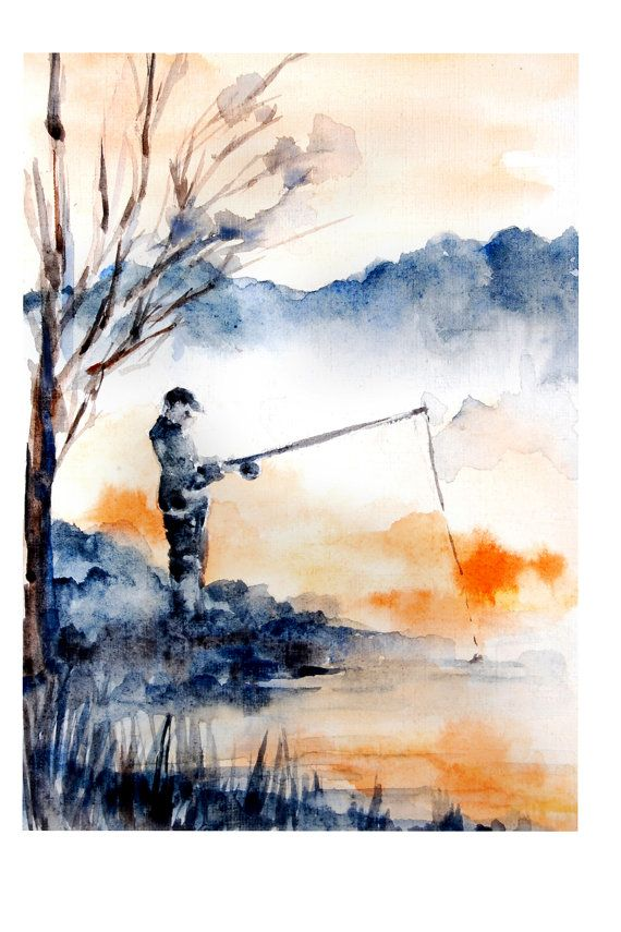 Abstract Landscape with Fisherman Watercolor Painting Art Print,  Abstract Nature, Blue Orange, Landscape Wall Art