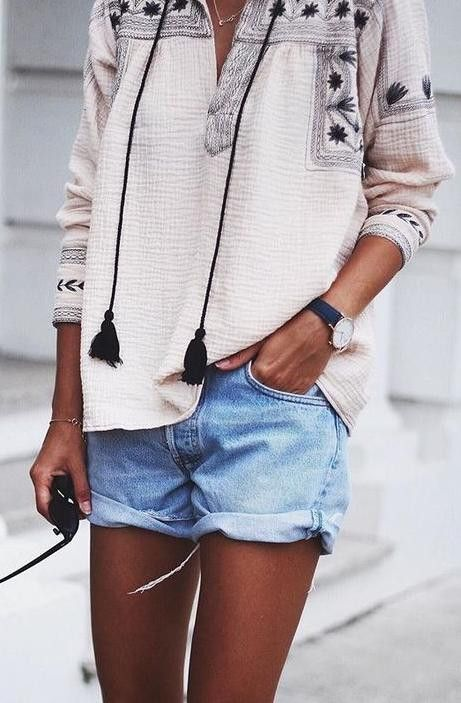 #spring #outfits Embroidered Tassel Tunic + Denim Shorts