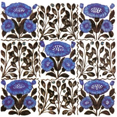 One of De Morgan's earliest designs, Bedford Park Daisy, was influenced by Morris's daisy and columbine patterns. This version is available on marble or ceramic tile.