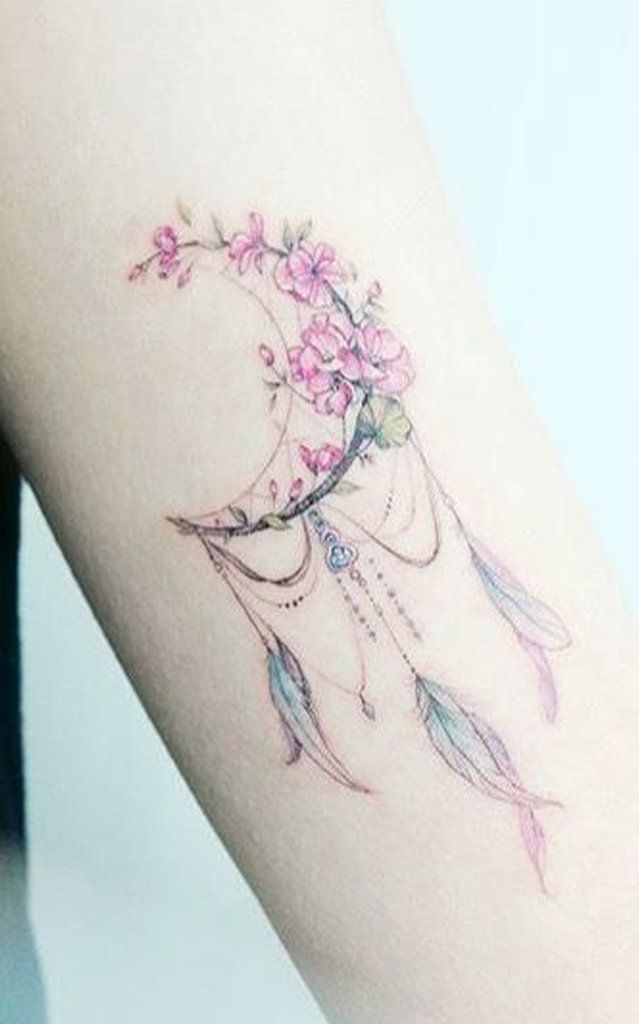 Pretty Watercolor Flowers Flower Moon Feather Arm Tattoo Ideas for Women – www.My … #tattoos
