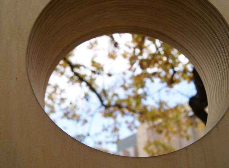 Plywood tree house window, South Yarra (design by FFLA)