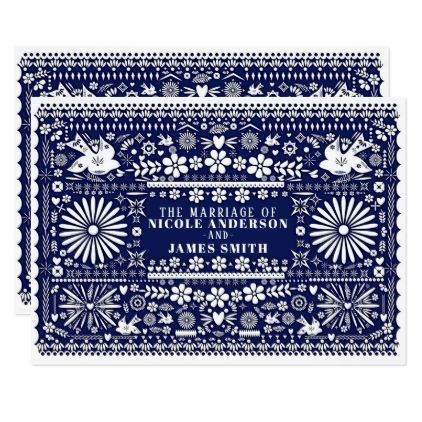 Mexican Picado Blue White Paper Wedding Marriage Card - wedding invitations cards custom invitation card design marriage party