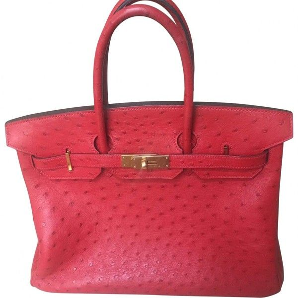 Pre-owned Hermès Birkin Ostrich Handbag ($15,800) ❤ liked on Polyvore featuring bags, handbags, red, ostrich bags, red bags, hermes bag, pre owned purses and handbag purse