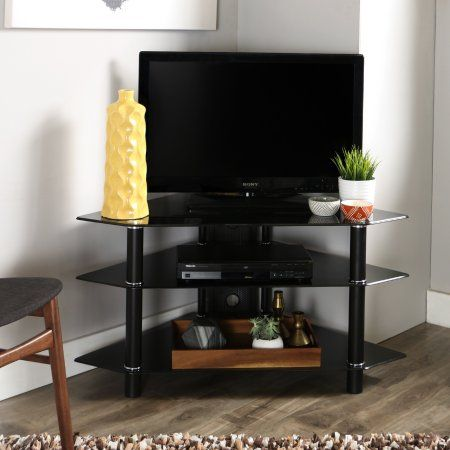 Glass/Metal Corner Clear/Silver TV Stand for TVs up to 48 inch, Multiple Colors, Black