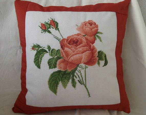 Hand embroidered rose pillow  cover  Cross stitch by futurePillow