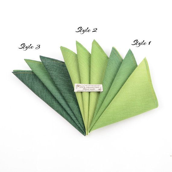 Beautiful and perfectly finished green gradient cotton handkerchief. Available in 3 designs and 3 sizes.  Limited edition no more than 5 pieces/sets on each design.   Fabric : 100% Cotton  Dimensions : 11 inch, 13 inch and 15 inch.  We also have matched bowtie which has different colours on each side so you can get two different finishings out of one pair.