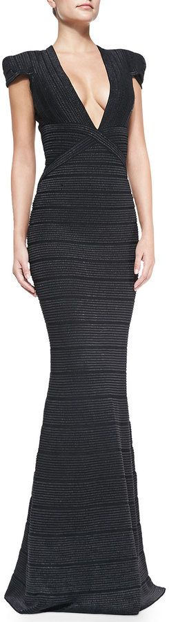 Herve Leger Beaded Cap-Sleeve Mermaid Gown on shopstyle.com